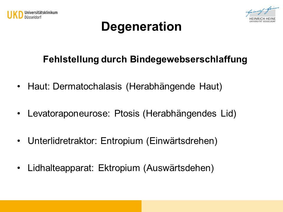 Degeneration Fehlstellung durch Bindegewebserschlaffung Haut: Dermatochalasis (Herabhängende Haut) Levatoraponeurose: Ptosis (Herabhängendes Lid) Unte