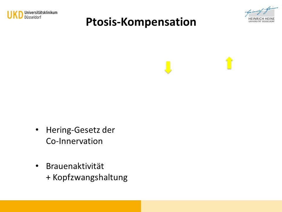 Ptosis-Kompensation Hering-Gesetz der Co-Innervation Brauenaktivität + Kopfzwangshaltung