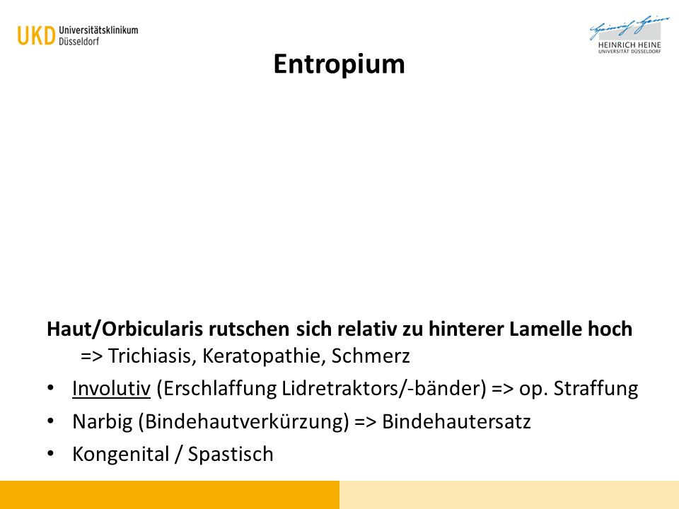 Entropium Haut/Orbicularis rutschen sich relativ zu hinterer Lamelle hoch => Trichiasis, Keratopathie, Schmerz Involutiv (Erschlaffung Lidretraktors/-