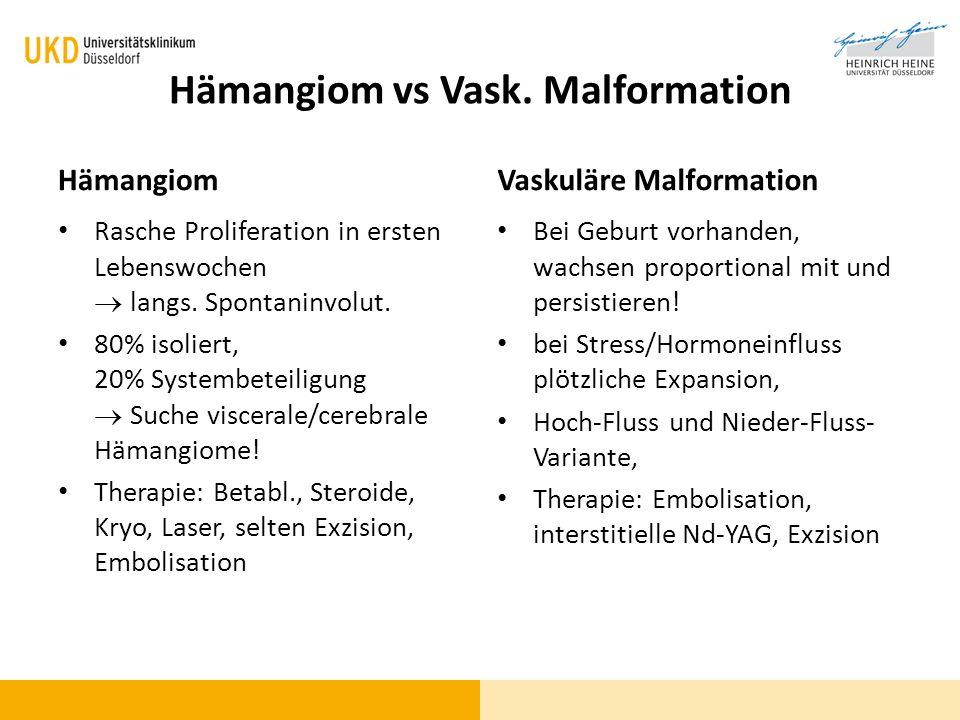 Hämangiom vs Vask. Malformation Hämangiom Rasche Proliferation in ersten Lebenswochen langs. Spontaninvolut. 80% isoliert, 20% Systembeteiligung Suche