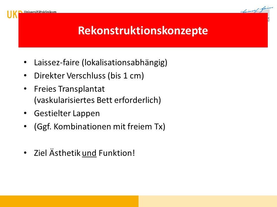 Rekonstruktion - Techniken Laissez-faire (lokalisationsabhängig) Direkter Verschluss (bis 1 cm) Freies Transplantat (vaskularisiertes Bett erforderlic