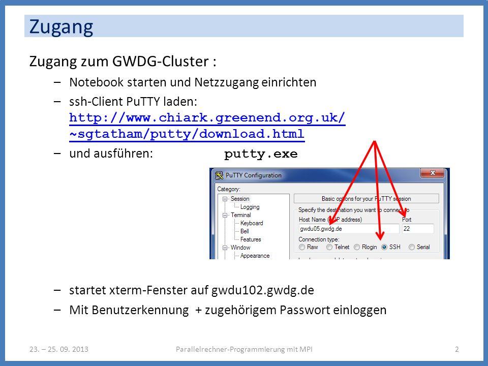 Zugang zum GWDG-Cluster : –Notebook starten und Netzzugang einrichten –ssh-Client PuTTY laden: http://www.chiark.greenend.org.uk/ ~sgtatham/putty/download.html http://www.chiark.greenend.org.uk/ ~sgtatham/putty/download.html –und ausführen: putty.exe –startet xterm-Fenster auf gwdu102.gwdg.de –Mit Benutzerkennung + zugehörigem Passwort einloggen Zugang Parallelrechner-Programmierung mit MPI223.