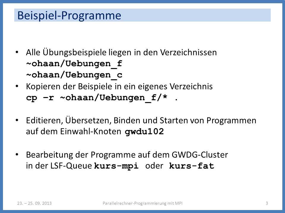 Beispiel-Programme Parallelrechner-Programmierung mit MPI323.