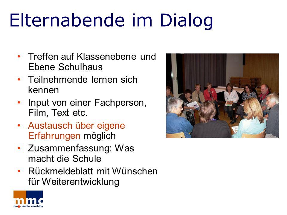 Elternabende im Dialog Treffen auf Klassenebene und Ebene Schulhaus Teilnehmende lernen sich kennen Input von einer Fachperson, Film, Text etc. Austau
