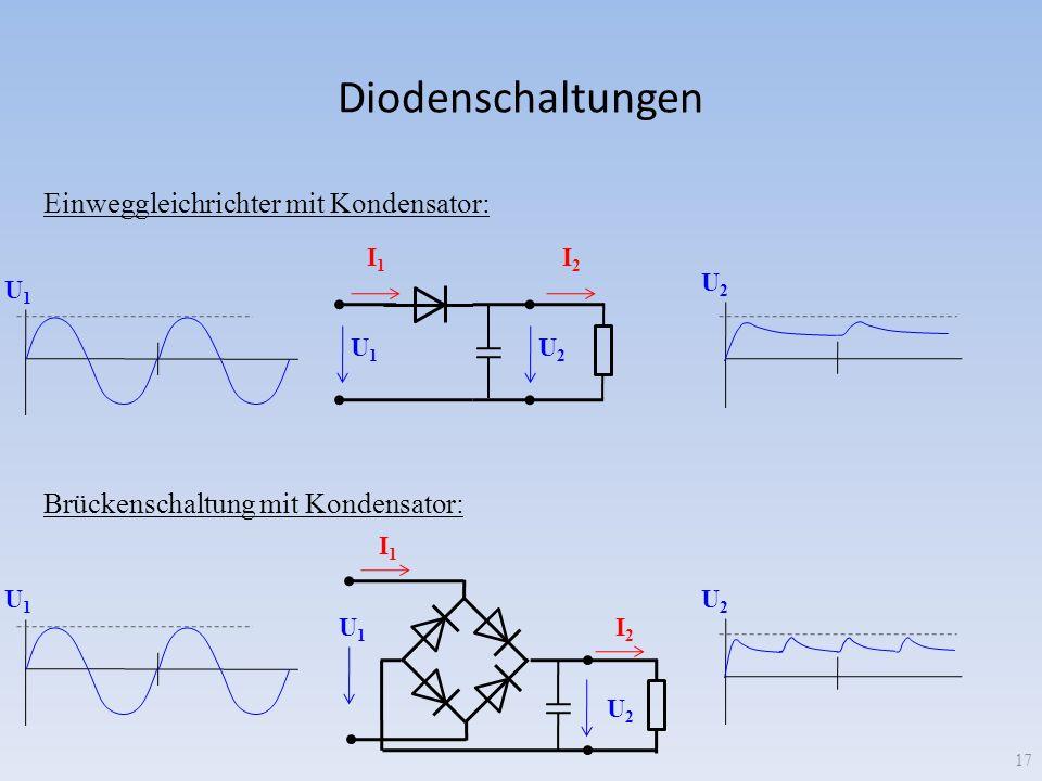Diodenschaltungen U 1 U 2 I 1 I 2 Einweggleichrichter mit Kondensator: I 1 I 2 U 1 U 2 Brückenschaltung mit Kondensator: U 1 U 2 17