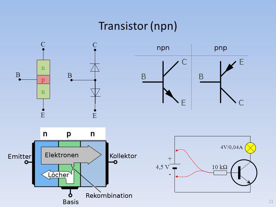 Transistor (npn) 21 p n n C B E C B E 10 k + - 4,5 V 4V/0,04A n p n