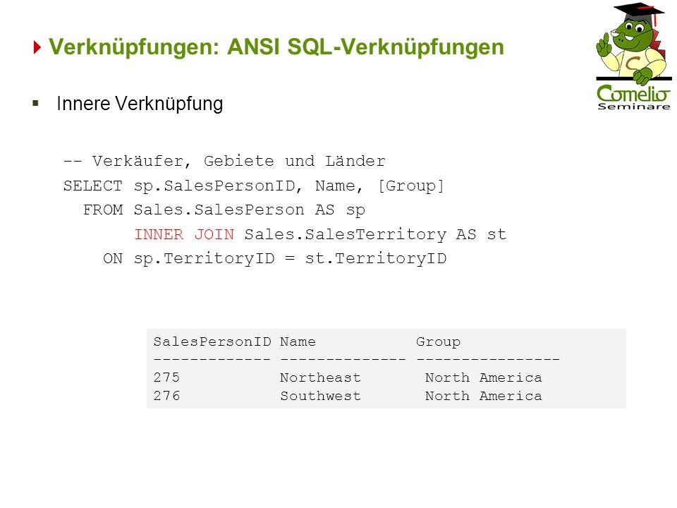 Verknüpfungen: ANSI SQL-Verknüpfungen -- Verkäufer, Gebiete und Länder SELECT sp.SalesPersonID, Name, [Group] FROM Sales.SalesPerson AS sp INNER JOIN
