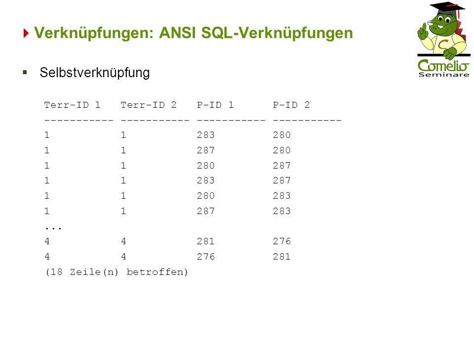Verknüpfungen: ANSI SQL-Verknüpfungen Terr-ID 1 Terr-ID 2 P-ID 1 P-ID 2 ----------- ----------- 1 1 283 280 1 1 287 280 1 1 280 287 1 1 283 287 1 1 28
