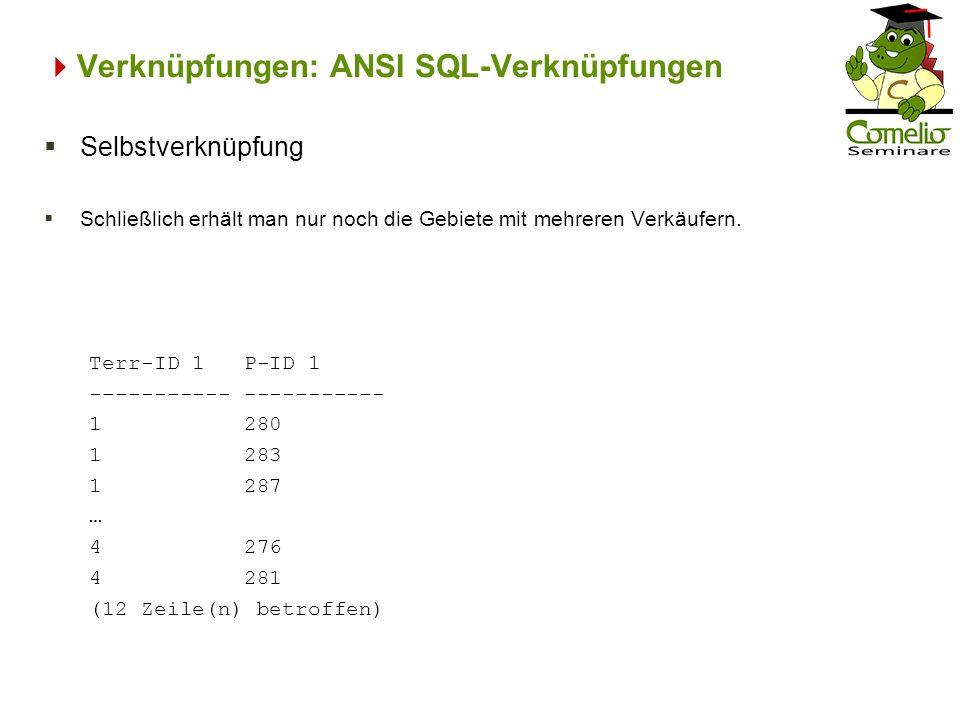 Verknüpfungen: ANSI SQL-Verknüpfungen Terr-ID 1 P-ID 1 ----------- 1 280 1 283 1 287 … 4 276 4 281 (12 Zeile(n) betroffen) Selbstverknüpfung Schließli