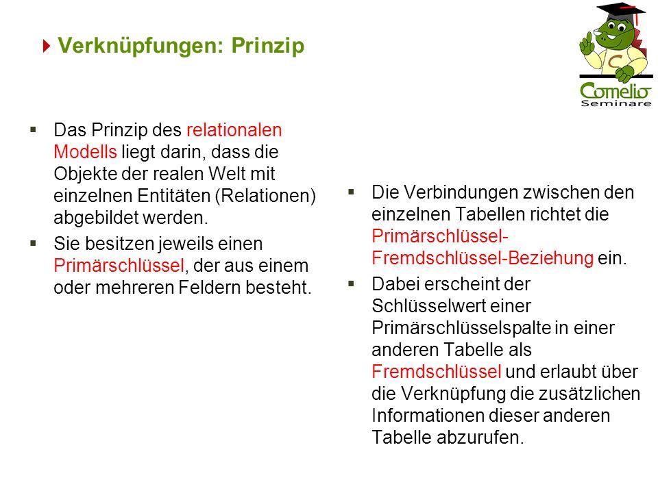 Verknüpfungen: Prinzip Die Verbindungen zwischen den einzelnen Tabellen richtet die Primärschlüssel- Fremdschlüssel-Beziehung ein. Dabei erscheint der
