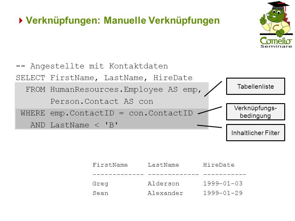 Verknüpfungen: ANSI SQL-Verknüpfungen Terr-ID 1 P-ID 1 ----------- 1 280 1 283 1 287 … 4 276 4 281 (12 Zeile(n) betroffen) Selbstverknüpfung Schließlich erhält man nur noch die Gebiete mit mehreren Verkäufern.
