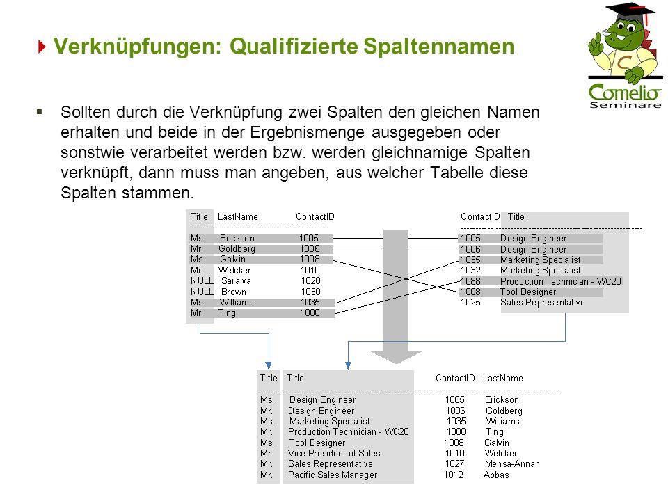 Verknüpfungen: Qualifizierte Spaltennamen Sollten durch die Verknüpfung zwei Spalten den gleichen Namen erhalten und beide in der Ergebnismenge ausgeg