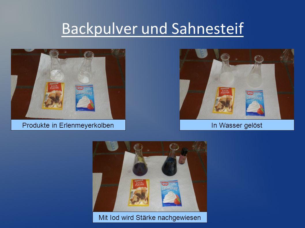 Backpulver und Sahnesteif In Wasser gelöst Mit Iod wird Stärke nachgewiesen Produkte in Erlenmeyerkolben