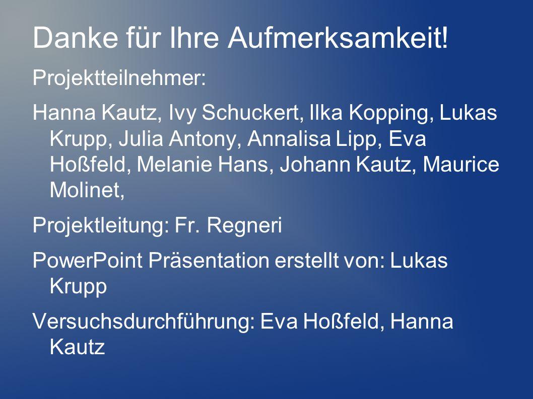 Danke für Ihre Aufmerksamkeit! Projektteilnehmer: Hanna Kautz, Ivy Schuckert, Ilka Kopping, Lukas Krupp, Julia Antony, Annalisa Lipp, Eva Hoßfeld, Mel