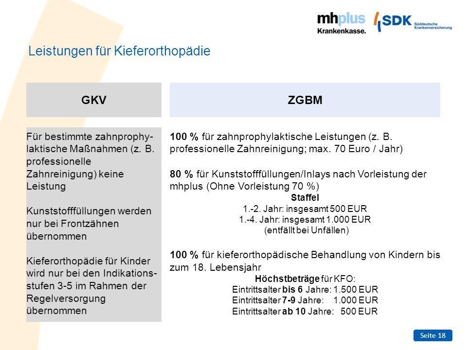 Seite 18 Leistungen für Kieferorthopädie Für bestimmte zahnprophy- laktische Maßnahmen (z. B. professionelle Zahnreinigung) keine Leistung Kunststofff