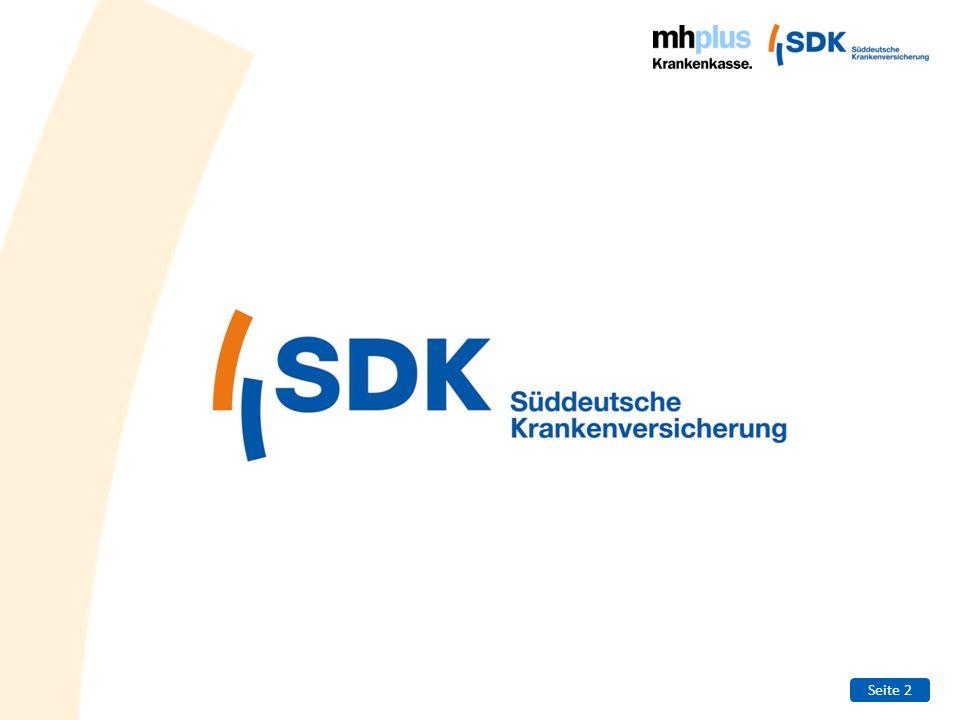 Seite 3 Entwicklung der SDK (1/2) 1926Gründung der Kranken- und Sterbekasse als Selbsthilfeeinrichtung württembergischer und badischer Landwirte 1936Namensänderung: Schwäbische Bauernkasse VVaG 1957Verschmelzung mit der 1927 gegründeten Badischen Bauernkasse zur Süddeutschen Bauernkasse (SBK) 1962Öffnung der SDK für alle Berufsgruppen; Firmierung als SBK- Lebensversicherung 1965Zusammenarbeit mit den Volksbanken Raiffeisenbanken in Bayern 1966Namensänderung: SBK-Krankenversicherung a.