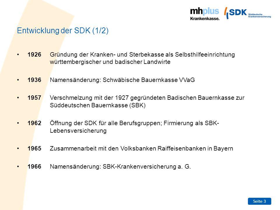 Seite 3 Entwicklung der SDK (1/2) 1926Gründung der Kranken- und Sterbekasse als Selbsthilfeeinrichtung württembergischer und badischer Landwirte 1936N