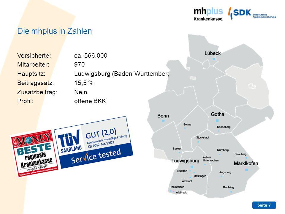Seite 7 Die mhplus in Zahlen Versicherte:ca. 566.000 Mitarbeiter:970 Hauptsitz:Ludwigsburg (Baden-Württemberg) Beitragssatz:15,5 % Zusatzbeitrag:Nein