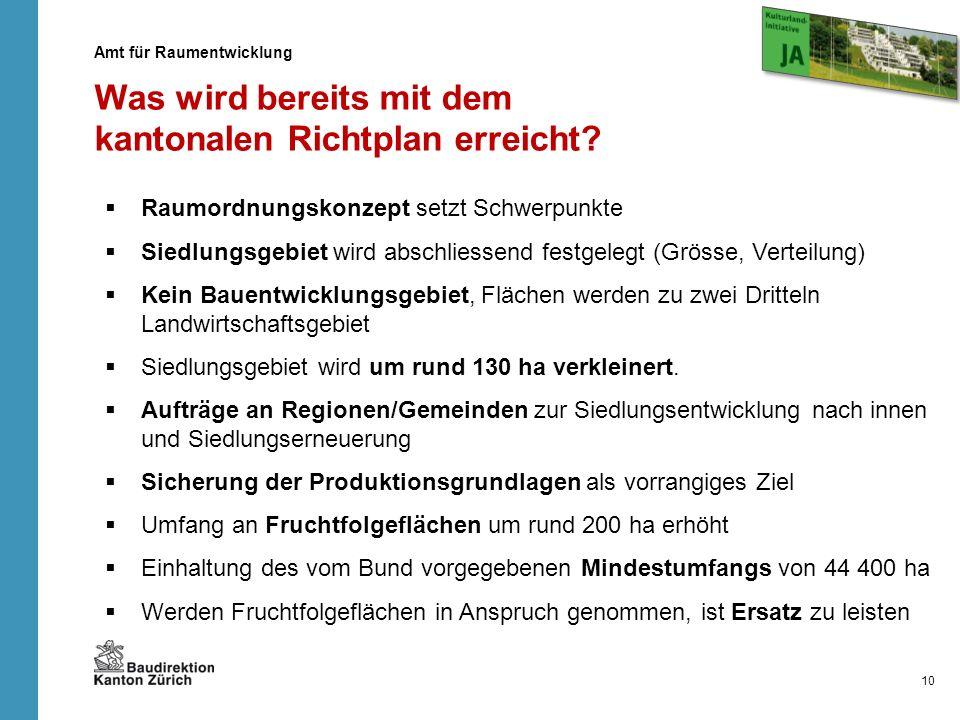 Die Forderungen der Kulturlandinitiative können mit dem kantonalen Richtplan erfüllt werden Auf die Umsetzungsvorlage (d.h.