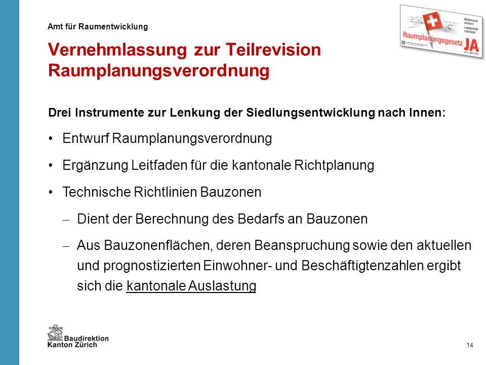 Vernehmlassung zur Teilrevision Raumplanungsverordnung Drei Instrumente zur Lenkung der Siedlungsentwicklung nach Innen: Entwurf Raumplanungsverordnun
