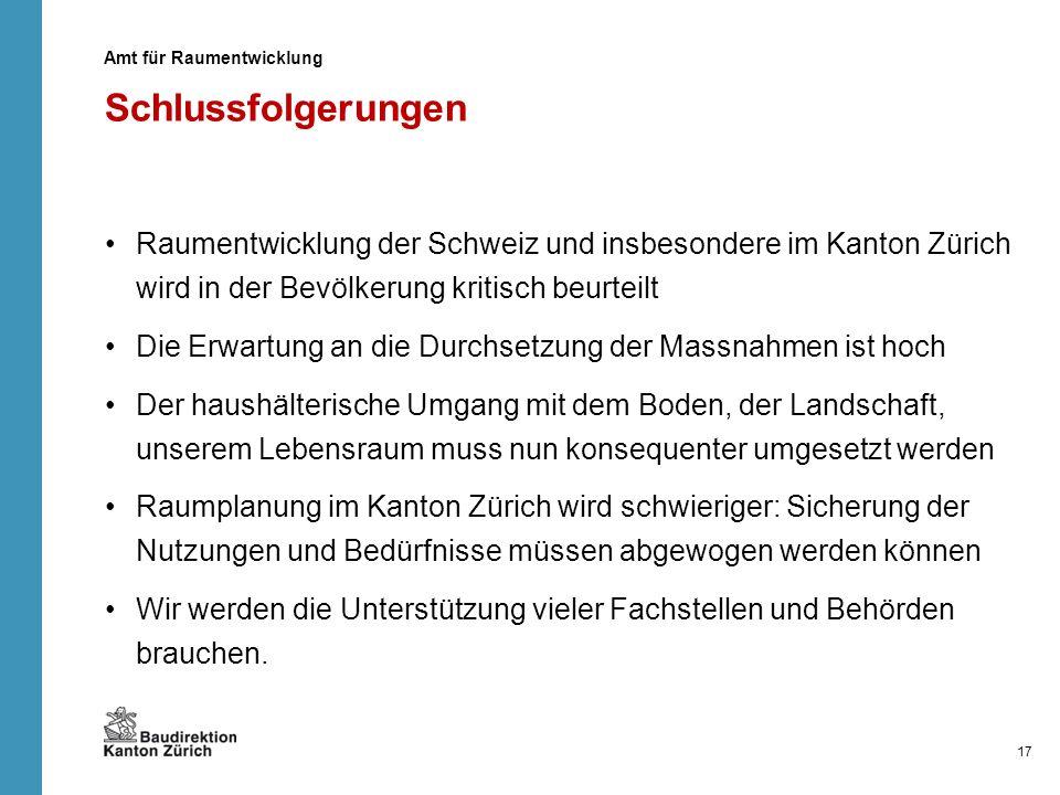 Schlussfolgerungen Raumentwicklung der Schweiz und insbesondere im Kanton Zürich wird in der Bevölkerung kritisch beurteilt Die Erwartung an die Durch