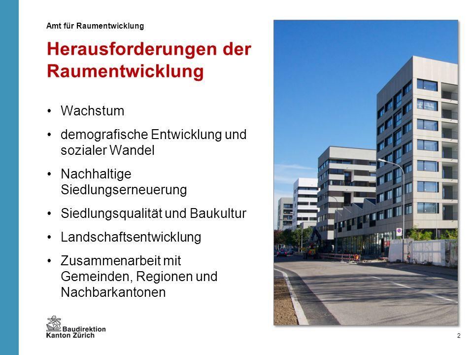 Herausforderungen der Raumentwicklung Wachstum demografische Entwicklung und sozialer Wandel Nachhaltige Siedlungserneuerung Siedlungsqualität und Bau