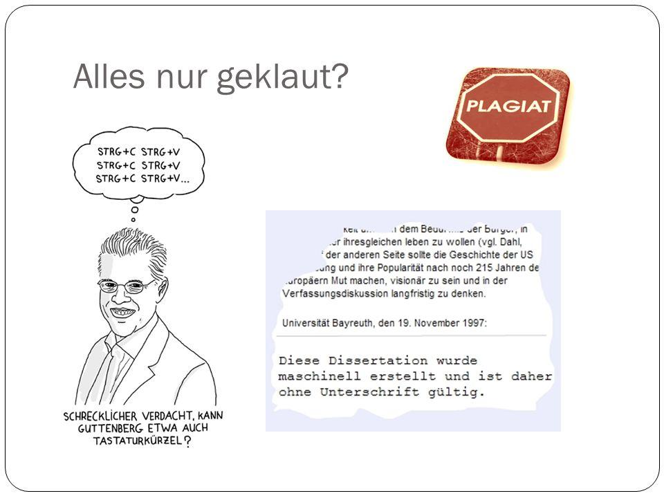 Plagiat: der klare Fall Ein klares (Teil-)Plagiat liegt vor, wenn Texte anderer Autoren (wortwörtlich oder leicht abgeändert) übernommen werden, aber nicht als direktes Zitat ausgewiesen sind.