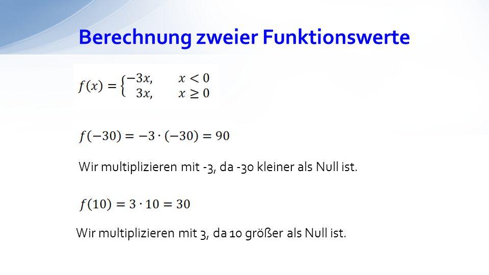 Berechnung zweier Funktionswerte Wir multiplizieren mit -3, da -30 kleiner als Null ist. Wir multiplizieren mit 3, da 10 größer als Null ist.