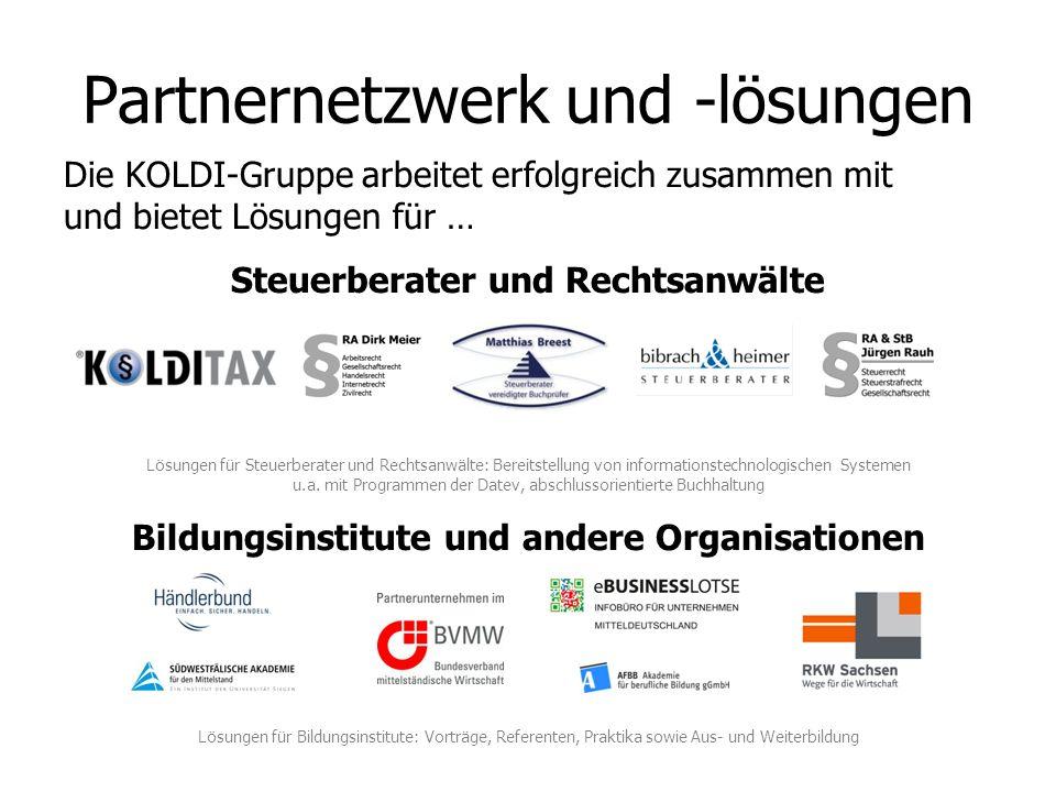 Die KOLDI-Gruppe arbeitet erfolgreich zusammen mit und bietet Lösungen für … Steuerberater und Rechtsanwälte Lösungen für Steuerberater und Rechtsanwä