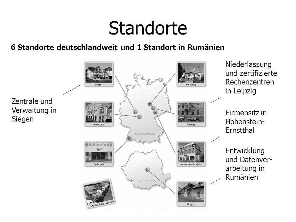 6 Standorte deutschlandweit und 1 Standort in Rumänien Standorte Zentrale und Verwaltung in Siegen Niederlassung und zertifizierte Rechenzentren in Le