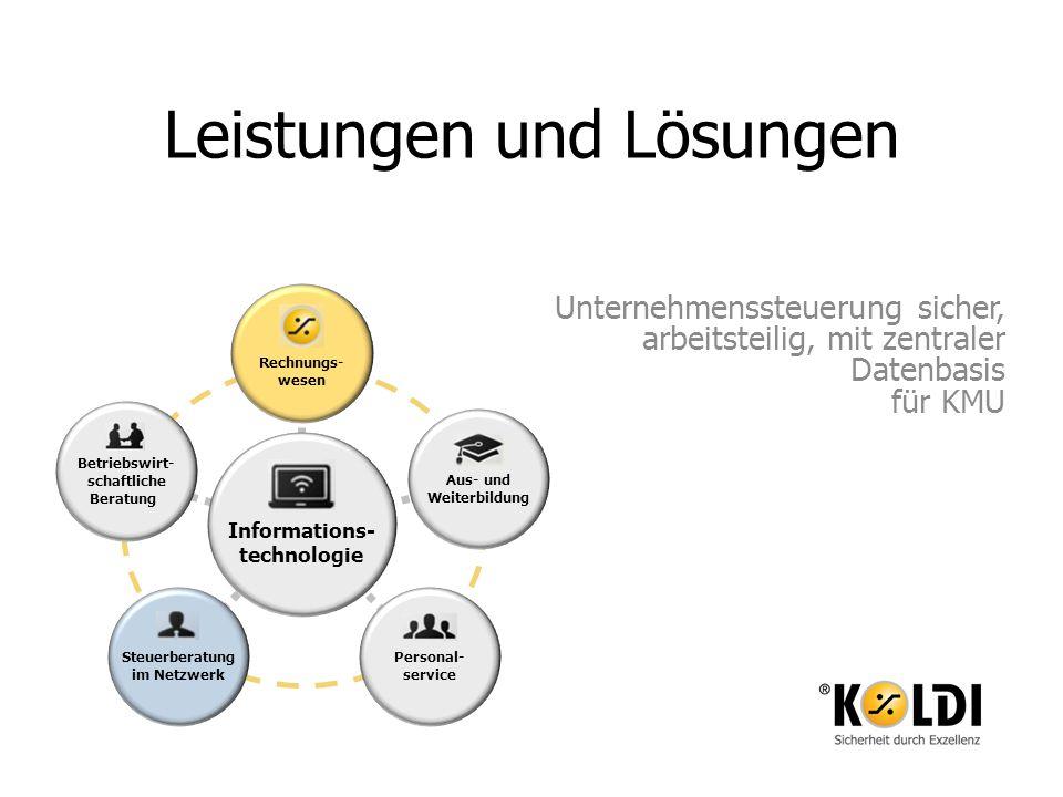 Leistungen und Lösungen Unternehmenssteuerung sicher, arbeitsteilig, mit zentraler Datenbasis für KMU Aus- und Weiterbildung Betriebswirt- schaftliche
