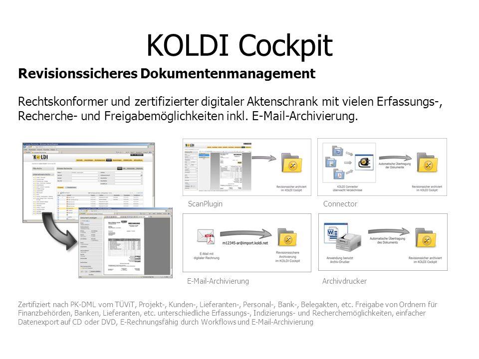 KOLDI Cockpit Rechtskonformer und zertifizierter digitaler Aktenschrank mit vielen Erfassungs-, Recherche- und Freigabemöglichkeiten inkl. E-Mail-Arch