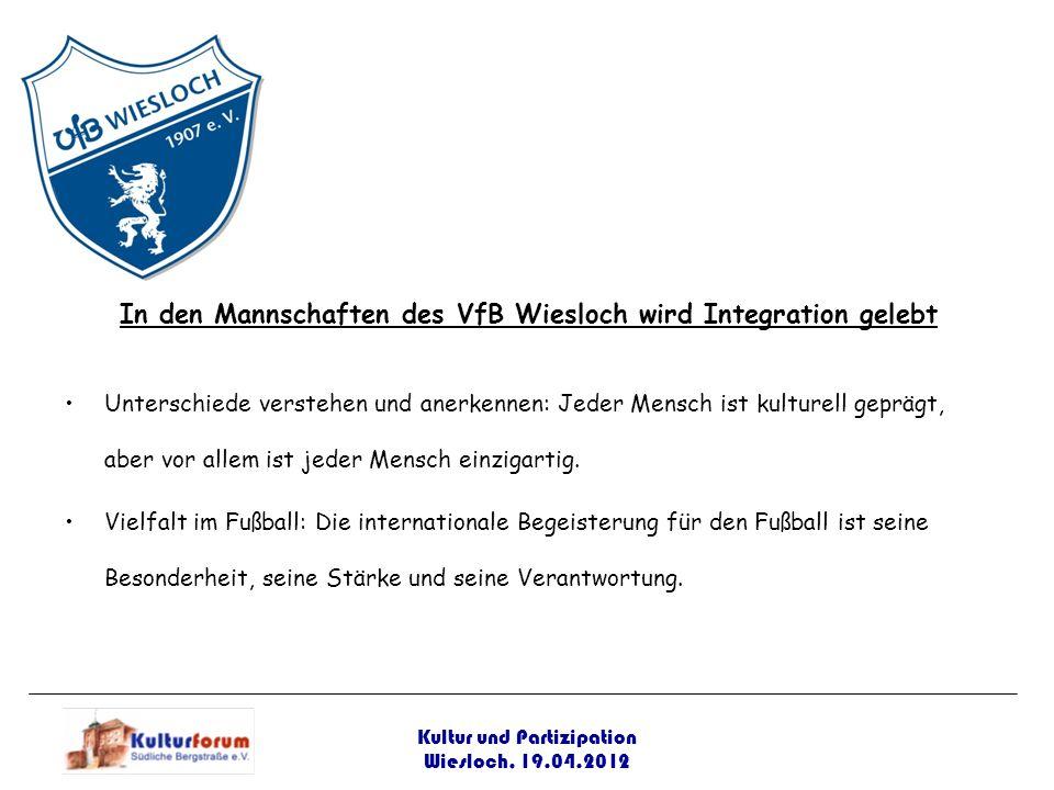 Kultur und Partizipation Wiesloch, 19.04.2012 In den Mannschaften des VfB Wiesloch wird Integration gelebt Unterschiede verstehen und anerkennen: Jede