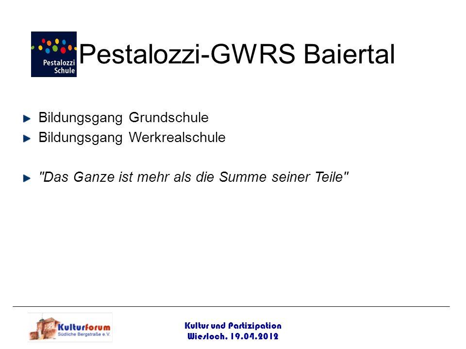 Kultur und Partizipation Wiesloch, 19.04.2012 Pestalozzi-GWRS Baiertal Bildungsgang Grundschule Bildungsgang Werkrealschule