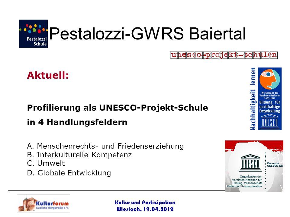 Kultur und Partizipation Wiesloch, 19.04.2012 Pestalozzi-GWRS Baiertal Aktuell: Profilierung als UNESCO-Projekt-Schule in 4 Handlungsfeldern A. Mensch