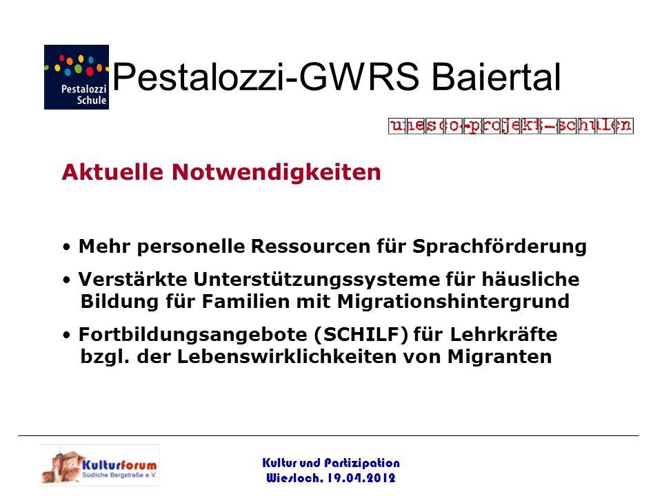 Kultur und Partizipation Wiesloch, 19.04.2012 Pestalozzi-GWRS Baiertal Aktuelle Notwendigkeiten Mehr personelle Ressourcen für Sprachförderung Verstär