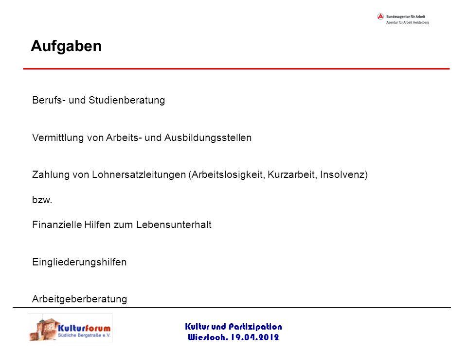 Kultur und Partizipation Wiesloch, 19.04.2012 Berufs- und Studienberatung Vermittlung von Arbeits- und Ausbildungsstellen Zahlung von Lohnersatzleitun