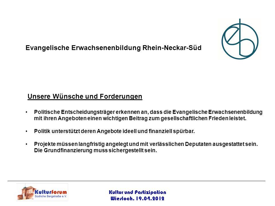 Kultur und Partizipation Wiesloch, 19.04.2012 Evangelische Erwachsenenbildung Rhein-Neckar-Süd Unsere Wünsche und Forderungen Politische Entscheidungs