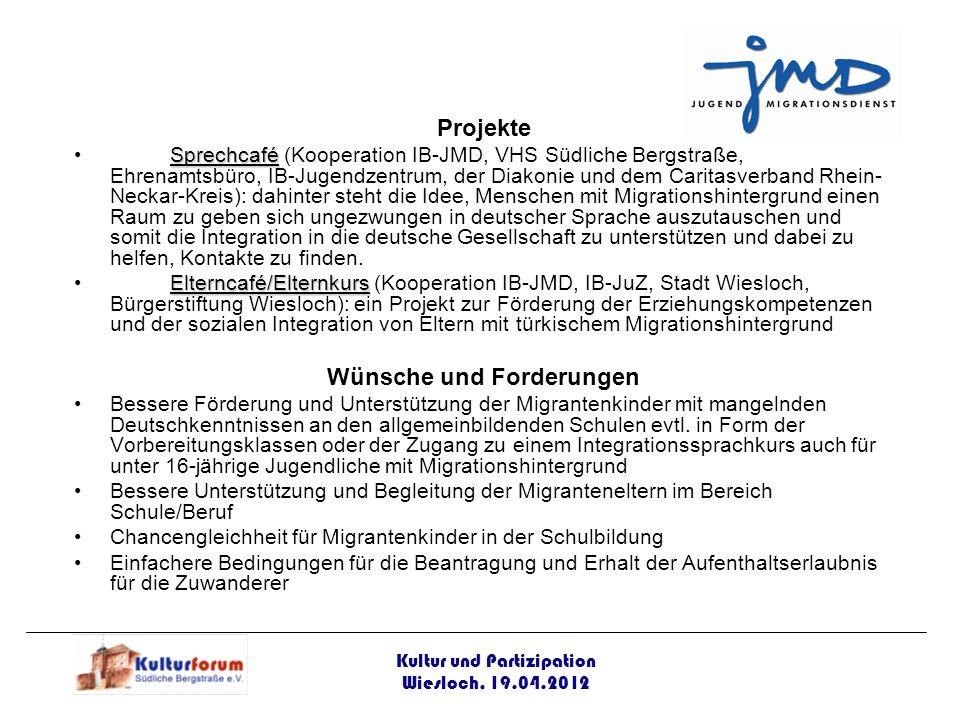 Projekte SprechcaféSprechcafé (Kooperation IB-JMD, VHS Südliche Bergstraße, Ehrenamtsbüro, IB-Jugendzentrum, der Diakonie und dem Caritasverband Rhein