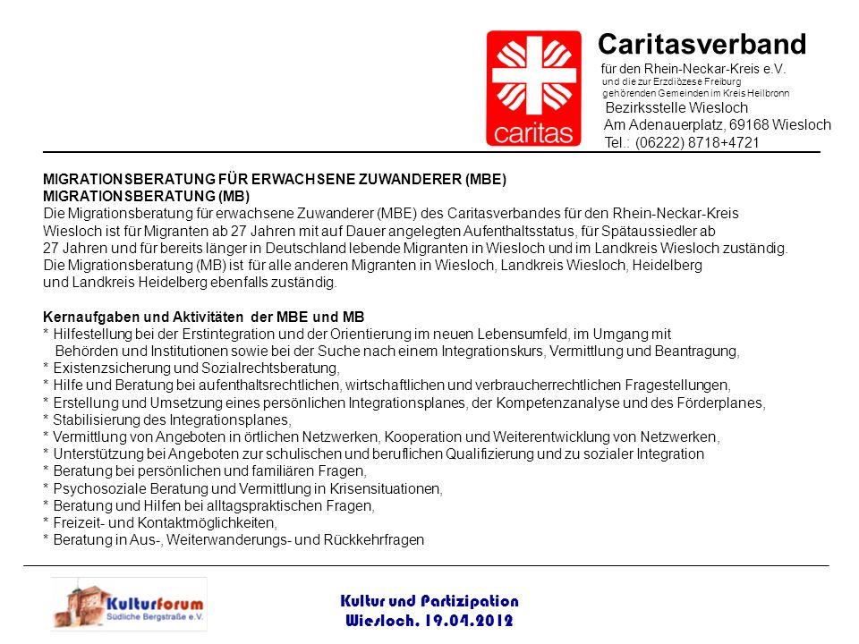 Kultur und Partizipation Wiesloch, 19.04.2012 Caritasverband für den Rhein-Neckar-Kreis e.V. und die zur Erzdiözese Freiburg gehörenden Gemeinden im K