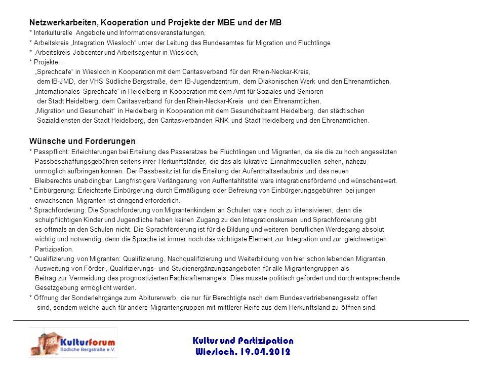 Netzwerkarbeiten, Kooperation und Projekte der MBE und der MB * Interkulturelle Angebote und Informationsveranstaltungen, * Arbeitskreis Integration W