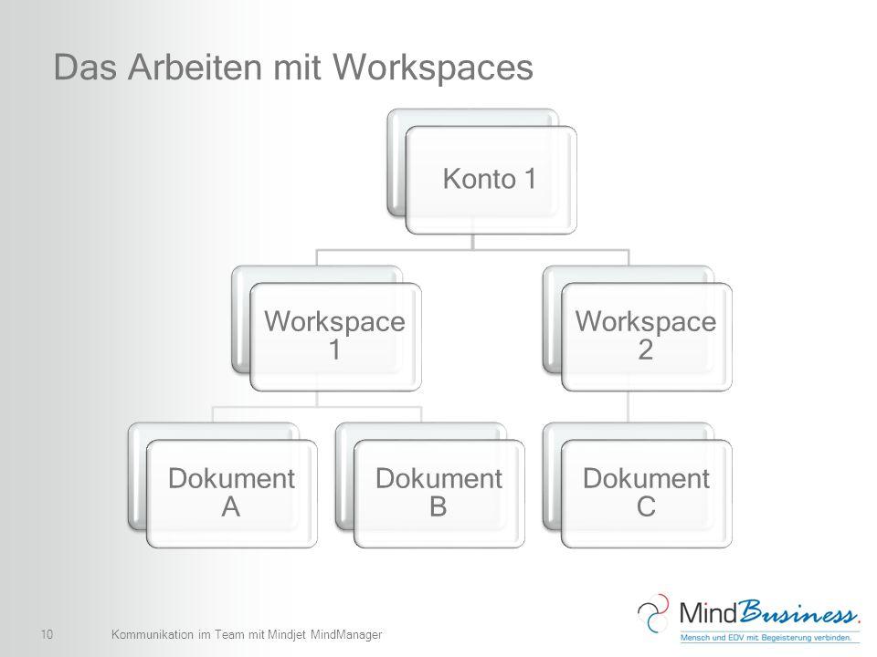 10 Das Arbeiten mit Workspaces Konto 1 Workspace 1 Dokument A Dokument B Workspace 2 Dokument C Kommunikation im Team mit Mindjet MindManager
