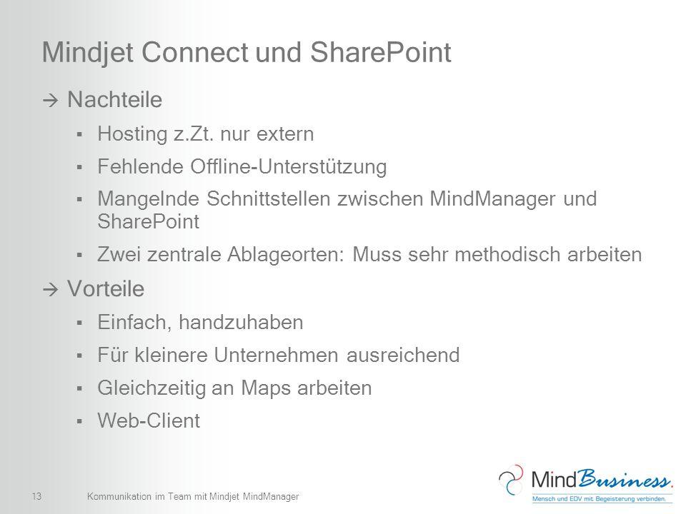 13 Mindjet Connect und SharePoint Nachteile Hosting z.Zt. nur extern Fehlende Offline-Unterstützung Mangelnde Schnittstellen zwischen MindManager und