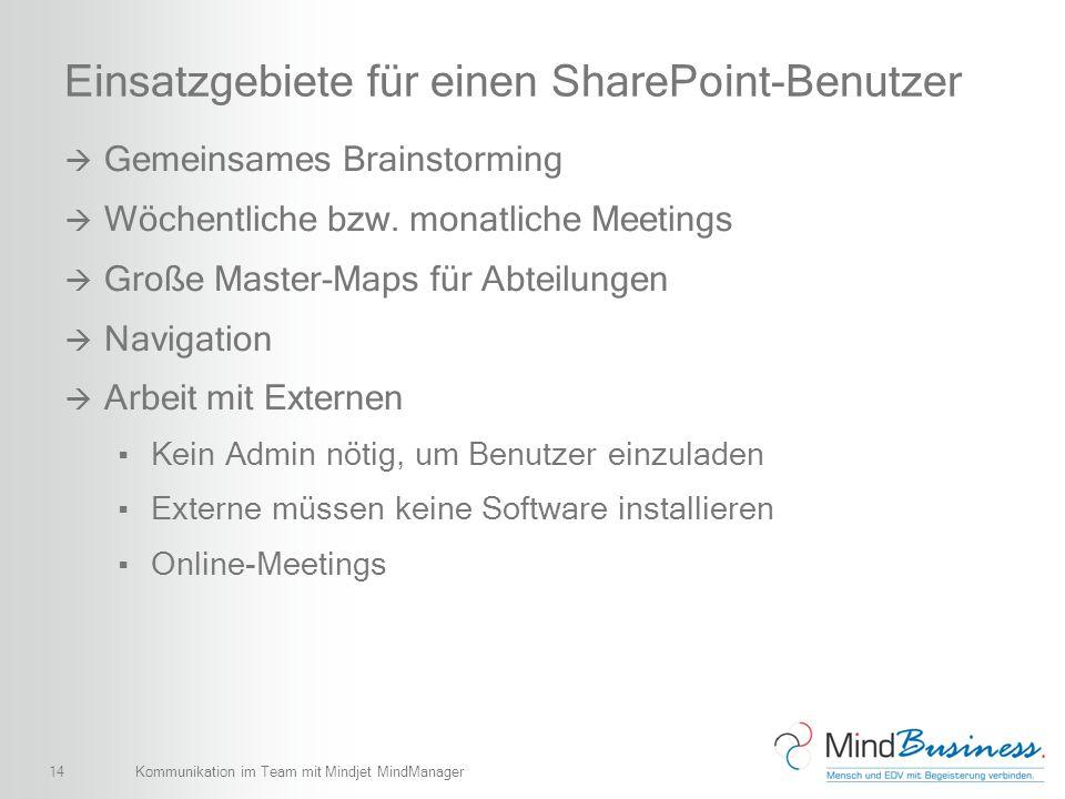 14 Einsatzgebiete für einen SharePoint-Benutzer Gemeinsames Brainstorming Wöchentliche bzw. monatliche Meetings Große Master-Maps für Abteilungen Navi