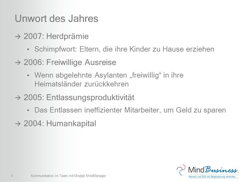 15 Tools für MindManager und SharePoint MindBusiness Map4Share (BETA) MindBusiness Map4Plan SharePoint Edition (BETA) MindBusiness ViewHTML Colligo Contributor Pro Kommunikation im Team mit Mindjet MindManager