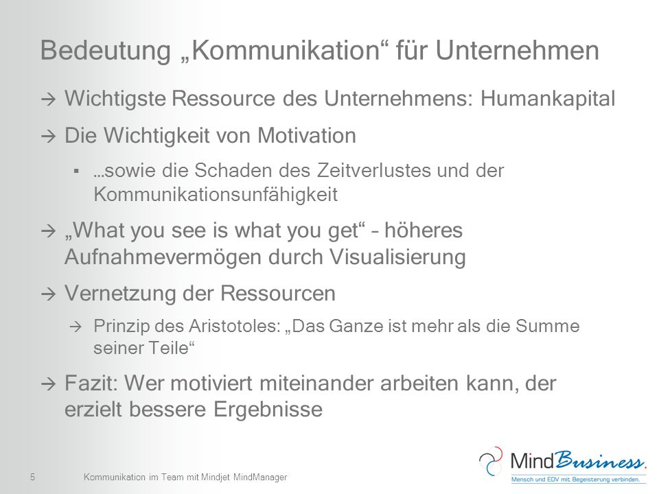 5 Bedeutung Kommunikation für Unternehmen Wichtigste Ressource des Unternehmens: Humankapital Die Wichtigkeit von Motivation …sowie die Schaden des Ze