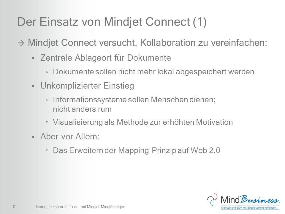 9 Der Einsatz von Mindjet Connect (2) Gemeinsame Arbeit Gleichzeitig an einer Map arbeiten Chat Instant Meeting Einfach für den Benutzer Flaggen, um Dokumente zu organisieren Sicherheitskonzepte, um Dokumente zu sperren Leichte Verwaltung von Benutzern Mitglieder einladen Berechtigungen setzen Kommunikation im Team mit Mindjet MindManager