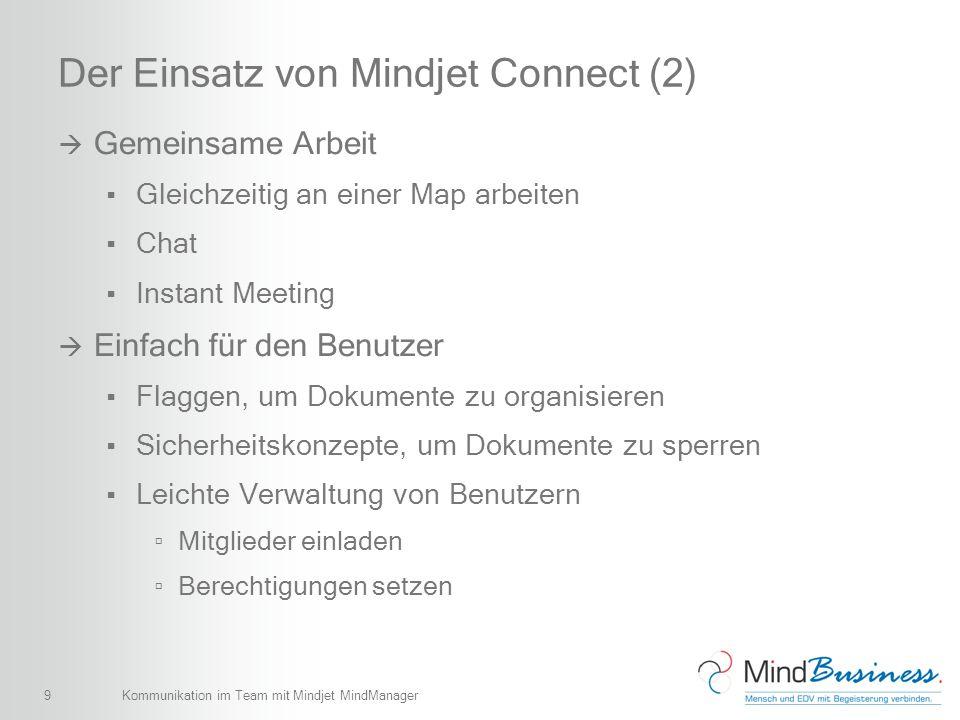 9 Der Einsatz von Mindjet Connect (2) Gemeinsame Arbeit Gleichzeitig an einer Map arbeiten Chat Instant Meeting Einfach für den Benutzer Flaggen, um D