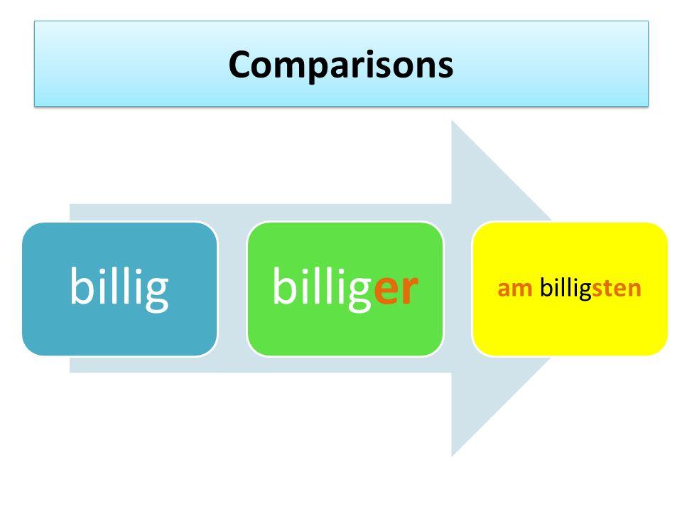 Comparisons billigbilliger am billigsten