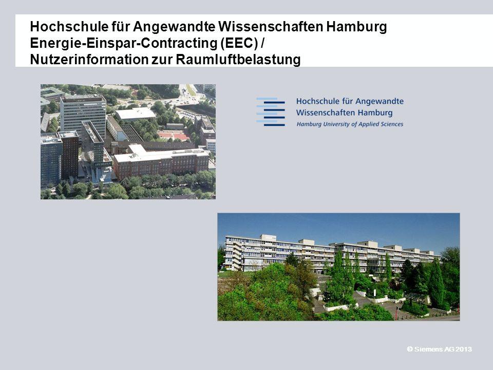 © Siemens AG 2013 11,2011,9011,600,400,00 8,80 6,10 5,10 4,40 1,20 1,60 7,90 8,60 Hochschule für Angewandte Wissenschaften Hamburg Energie-Einspar-Contracting (EEC) / Nutzerinformation zur Raumluftbelastung